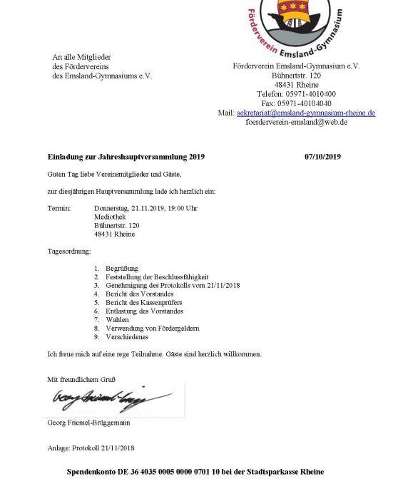 Der Förderverein lädt herzlich zur kommenden Jahreshauptversammlung ein!